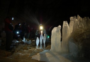 Ice stalagmites in Mammuthole, Dachstein Massif. First published in EARTH Magazine.