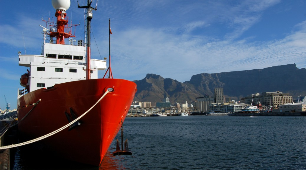 The B.I.O. Hespérides, with Cape Town and Table Mountain behind, during the Malaspina Expedition in 2011. First published by Nature.